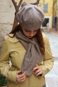 Unique scarf, Wool fabric scarf, Lined with fleece, Warm winter scarf, Trendy and unique scarf, Brown scarf, Womens scarf, gift for her