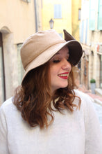 Load image into Gallery viewer, Beige and khaki bucket hat with oversized bow