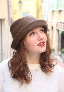 Khaki brown cloche hat