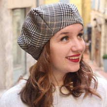 Load image into Gallery viewer, Tartan beret, Fabric beret, British tartan hat, fabric hat, Slouchy hat, French beret, Trendy hat, Womens beret hat, Fashion hat, Plaid hat
