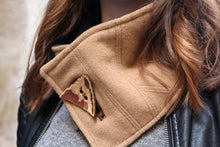 Load image into Gallery viewer, Winter scarf. Beige scarf. Button scarf. Womens scarf. Fabric neckwarmer. Fashion scarf. Trendy scarf. Button cowl. French fashion scarf.