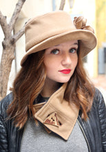 Load image into Gallery viewer, Beige cloche hat.