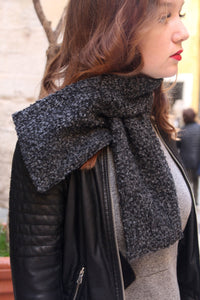 Short scarf, Gray fabric scarf for winte