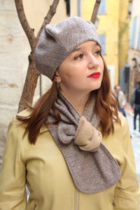 Wool french beret and scarf, Chevron wool hat set