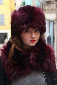 Russian hat, Fake fur hat, Womans cossack hat, dark red fur hat,