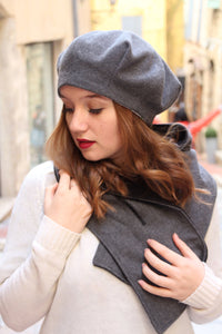 Gray beret hat, Soft and slouchy beret hat made with woolen blend fabric,