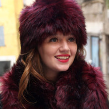 Load image into Gallery viewer, Russian hat, Fake fur hat, Womans cossack hat, dark red fur hat,