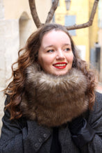 Load image into Gallery viewer, Fake fur scarf, womens brown faux fur scarf,