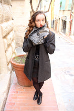 Load image into Gallery viewer, Fake fur scarf, womens gray faux fur scarf,
