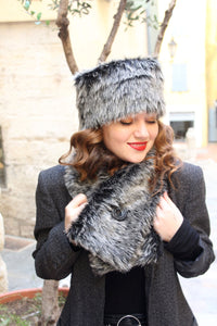 Fake fur scarf, womens gray faux fur scarf,
