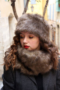 Fake fur scarf, womens brown faux fur scarf,