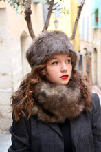 Load image into Gallery viewer, Faux fur hat and scarf set, Brown fake fur hat scarf combo,