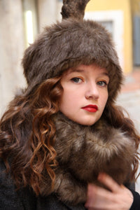 Faux fur hat and scarf set, Brown fake fur hat scarf combo,