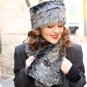 Faux fur hat and scarf set, Black and gray fake fur hat scarf combo,