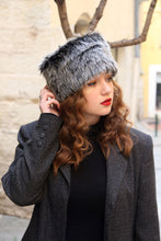 Load image into Gallery viewer, Winter fur hat, two tone black and gray russian fake fur hat,