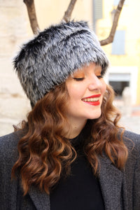 Winter fur hat, two tone black and gray russian fake fur hat,