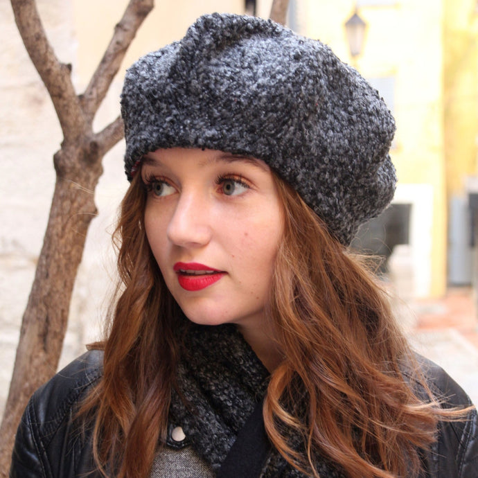 Wool fabric beret hat. Charcoal gray textured fabric hat.