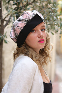 Pink tartan newsboy hat, Womens plaid hat,