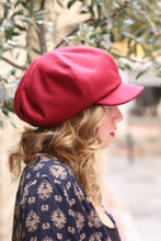 Load image into Gallery viewer, Burgundy slouchy cap. Womens fabric oversized cap. French beret with visor. Unique trendy hat for women. Stylish fabric hat. Casual hat.