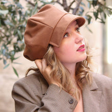 Load image into Gallery viewer, Camel brown cap with visor, Industrial chic hat for women, Unique hat for all occasions, Trendy hat, Gavroche hat, Baker boy hat, Beret hat