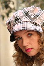 Load image into Gallery viewer, Pink tartan newsboy hat, Womens plaid hat,