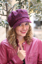 Load image into Gallery viewer, Blue and Red brocade hat, Trendy fabric cap,