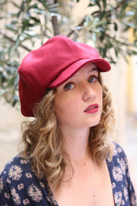 Burgundy slouchy cap. Womens fabric oversized cap. French beret with visor. Unique trendy hat for women. Stylish fabric hat. Casual hat.