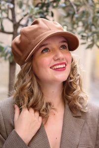 Camel brown cap with visor, Industrial chic hat for women, Unique hat for all occasions, Trendy hat, Gavroche hat, Baker boy hat, Beret hat