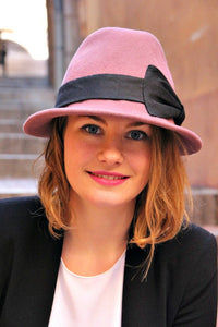 Dusky pink womans fedora hat. Designer French millinery hat.