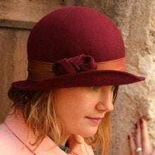 Load image into Gallery viewer, Bordeaux cloche hat. Traditional millinery hat. Bowler hat.