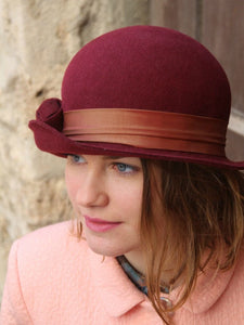 Bordeaux cloche hat. Traditional millinery hat. Bowler hat.