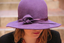 Load image into Gallery viewer, Unique womans purple wide brim wool felt hat.