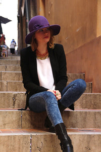 Unique womans purple wide brim wool felt hat.