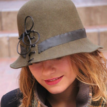 Load image into Gallery viewer, Olive green cloche hat. Designer French millinery hat.