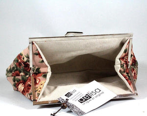 Floral clutch bag. Fall flowers silk hand bag. Womans clutch. Bridal clutch.
