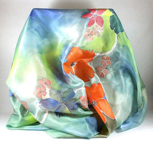 Hand painted silk scarf. Floral silk foulard. Original wearable silk art.
