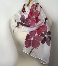 Load image into Gallery viewer, Hand painted pink floral silk scarf. Flower pattern pure silk foulard.