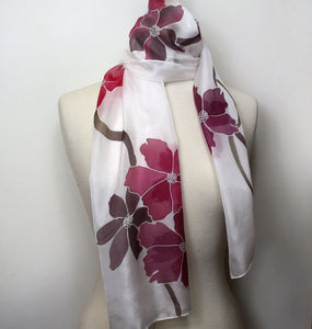 Hand painted pink floral silk scarf. Flower pattern pure silk foulard.