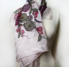 Load image into Gallery viewer, Hand painted silk scarf. Pink and gray silk scarf. Silk foulard painted by hand,