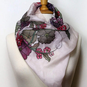Hand painted silk scarf. Pink and gray silk scarf. Silk foulard painted by hand,