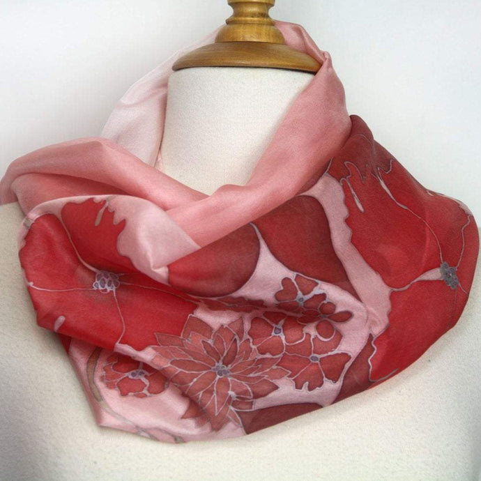 Hand painted silk scarf. Coral and autumn orange flower silk foulard. Pure silk scarf.