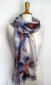 Hand painted silk scarf in blues and reds. Vibrant abstract floral silk scarf. Purple silk foulard.