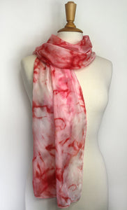 Hand painted pink silk scarf. Vibrant pink tie dyed silk scarf. Pink silk foulard.