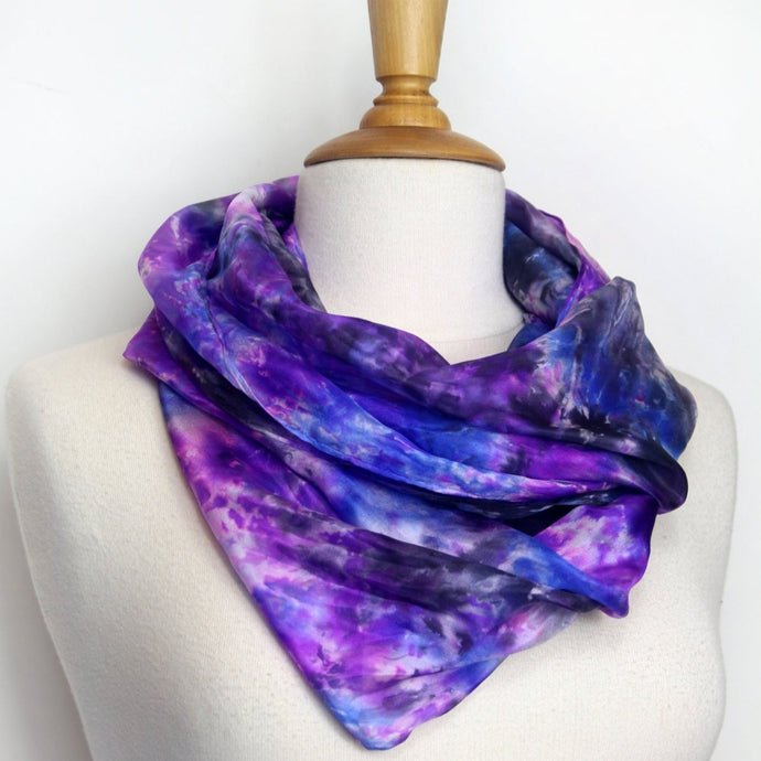 Hand painted purple silk scarf. Luxurious violet tones hand painted on pure silk.