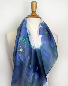 Silk scarf. Hand painted silk scarf. Blue floral silk scarf. Wearable art.