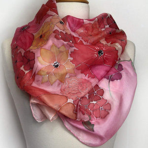 Hand painted silk scarf. Pink floral silk scarf. Painted silk foulard.