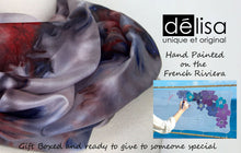 Load image into Gallery viewer, Hand painted silk scarf in blues and reds. Vibrant abstract floral silk scarf. Purple silk foulard.