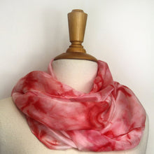 Load image into Gallery viewer, Hand painted pink silk scarf. Vibrant pink tie dyed silk scarf. Pink silk foulard.