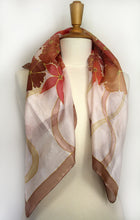 Load image into Gallery viewer, Hand painted silk scarf. Orange flowers painted on pure silk. Handpainted silk foulard.