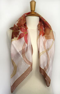 Hand painted silk scarf. Orange flowers painted on pure silk. Handpainted silk foulard.